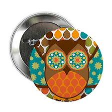 """Owl Boheme Brown 2.25"""" Button"""