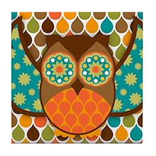 Owl Boheme Brown Tile Coaster