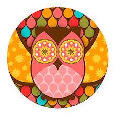 Owl Boheme Pink Round Car Magnet