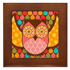 Owl Boheme Pink Framed Tile