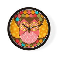Owl Boheme Pink Wall Clock