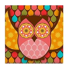 Owl Boheme Pink Tile Coaster