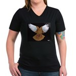 Domestic Flight Pigeon Women's V-Neck Dark T-Shirt
