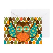 Owl Boheme Brown Greeting Card
