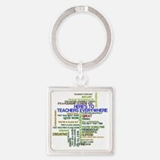 Great Teachers Word Art Square Keychain