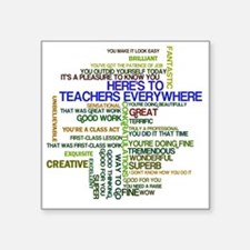 "Great Teachers Word Art Square Sticker 3"" x 3"""