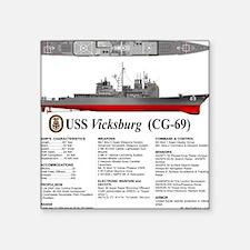 "USS Vicksburg CG-69 Square Sticker 3"" x 3"""