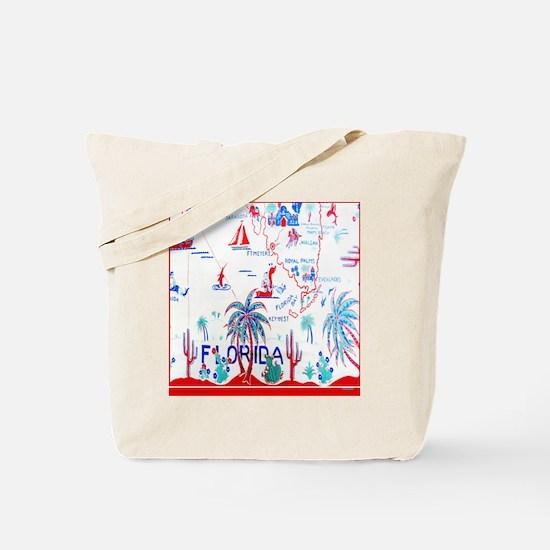 Vintage Florida Tablecloth Shower Curtain Tote Bag