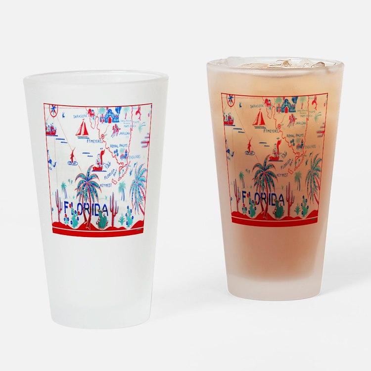 Vintage Florida Tablecloth Shower C Drinking Glass