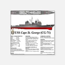 "USS Cape St. George CG-71 Square Sticker 3"" x 3"""