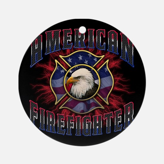 Firefighter Lightning Square Round Ornament