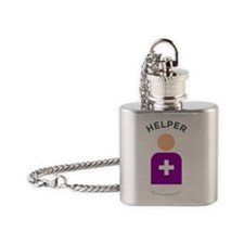2-Helper With Name Flask Necklace