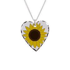Sunflower Necklace Heart Charm