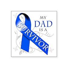 """My Dad is a Survivor (blue) Square Sticker 3"""" x 3"""""""