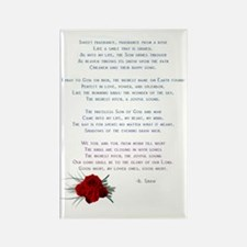 Poem with small rose on side Rectangle Magnet