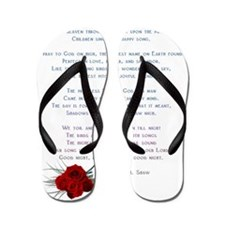 Poem with small rose on side Flip Flops