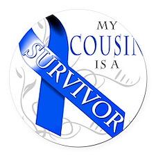 My Cousin is a Survivor (blue) Round Car Magnet