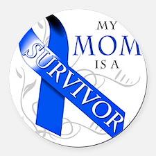 My Mom is a Survivor (blue) Round Car Magnet