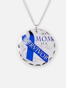 My Mom is a Survivor (blue) Necklace