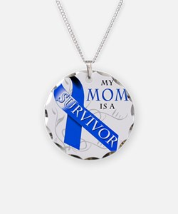 My Mom is a Survivor (blue) Necklace Circle Charm