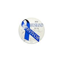 My Husband is a Survivor (blue) Mini Button