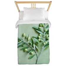 Olive Branch on green background Twin Duvet