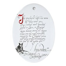 greyhound text Oval Ornament