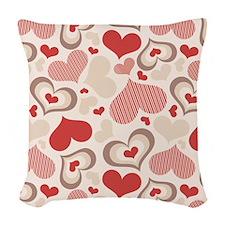 Hearts Woven Throw Pillow