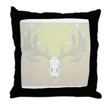 Whitetail buck skull Throw Pillow