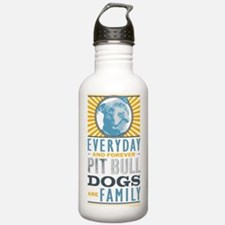 Pit Bull Dogs are Fami Water Bottle