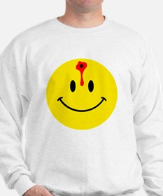 smiley face with bullet hole Sweatshirt