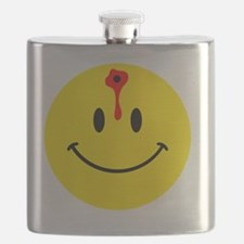 smiley face with bullet hole Flask