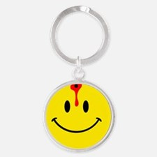 smiley face with bullet hole Round Keychain