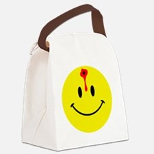 smiley face with bullet hole Canvas Lunch Bag
