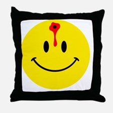 smiley face with bullet hole Throw Pillow