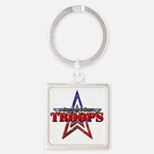 Support Our Troops Square Keychain