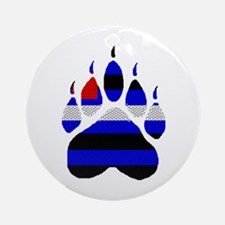 LEATHER BEAR PAW ON WHITE Ornament (Round)
