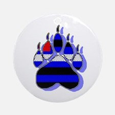 LEATHER BEAR PAW SHADOW BLUE Ornament (Round)