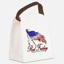 Red support Canvas Lunch Bag