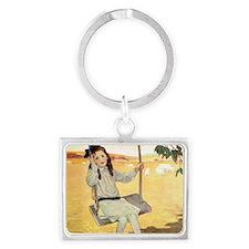 Little Girl on a Swing Landscape Keychain