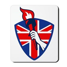 Hand Holding Flaming Torch British Flag Mousepad