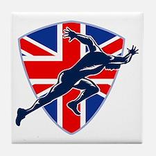 Runner Sprinter Start British Flag Sh Tile Coaster