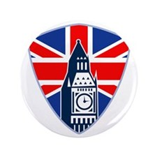"""Big Ben British Flag Shield 3.5"""" Button"""