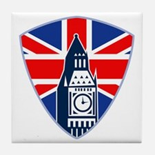 Big Ben British Flag Shield Tile Coaster