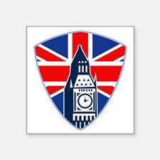 "Big Ben British Flag Shield Square Sticker 3"" x 3"""