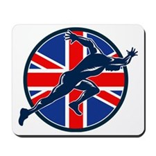 Runner Sprinter Start British Flag Circl Mousepad