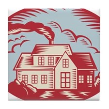 House Homestead Cottage Woodcut Tile Coaster