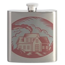 House Homestead Cottage Woodcut Flask
