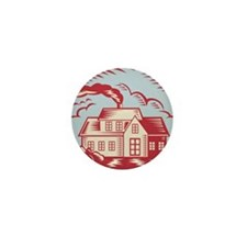 House Homestead Cottage Woodcut Mini Button