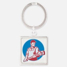 Plumber Worker Monkey Wrench Retro Square Keychain